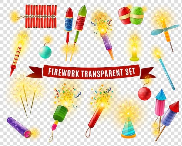 Conjunto de fundo transparente firework sparlers firecrackers Vetor grátis