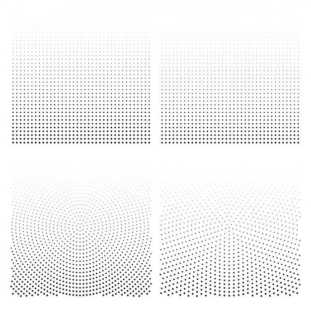 Conjunto de fundos de meio-tom. ilustração do vetor de pontos de meio-tom. Vetor Premium