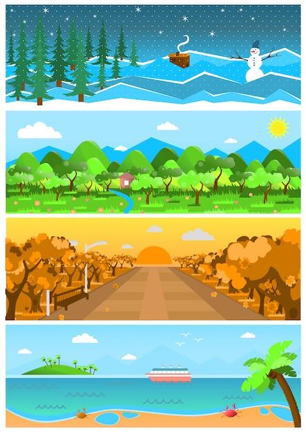 Conjunto de fundos de natureza e paisagens com estações diferentes. Vetor Premium