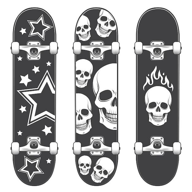 Conjunto de fundos de skate. design de skate estilo monocromático Vetor grátis