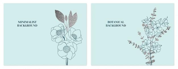 Conjunto de fundos floral minimalista hortelã e prata Vetor Premium