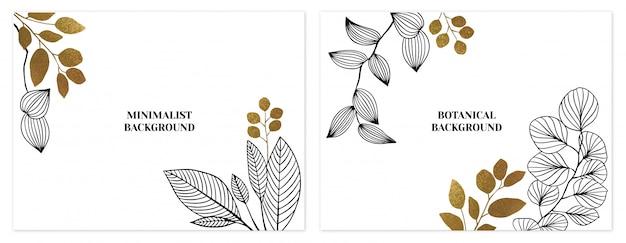 Conjunto de fundos floral minimalista preto e dourado Vetor Premium