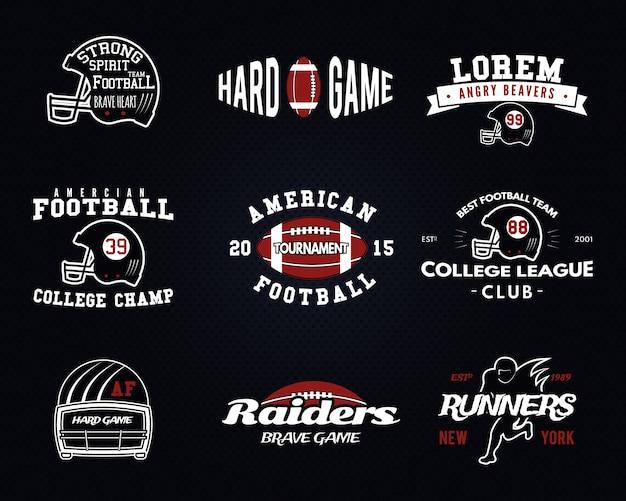 Conjunto de futebol americano, rótulos da liga universitária, logotipos, emblemas, insígnias, ícones no estilo vintage. design gráfico Vetor Premium