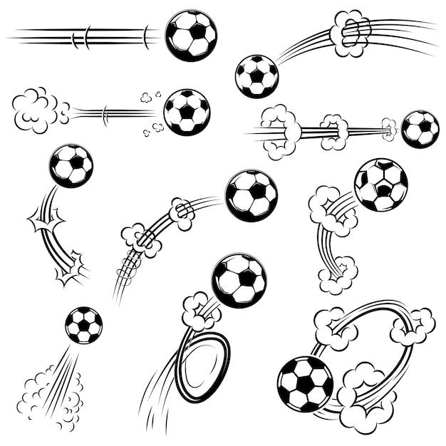 Conjunto de futebol, bolas de futebol com trilhas de movimento em estilo cômico. elemento para cartaz, banner, folheto, cartão. ilustração Vetor Premium