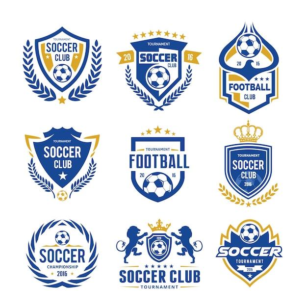 Conjunto de futebol futebol logotipo modelo Vetor Premium