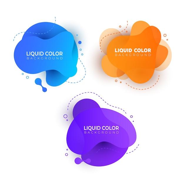 Conjunto de futuros salpicos de gradiente líquido. Vetor Premium