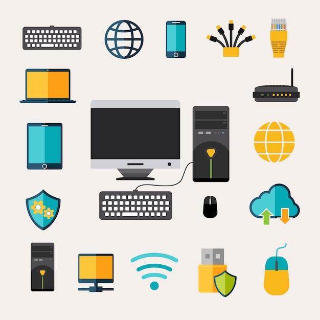 Conjunto de gadgets de rede Vetor grátis