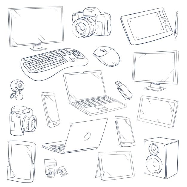 Conjunto de gadgets de tecnologia de computador de esboço desenhado mão Vetor Premium