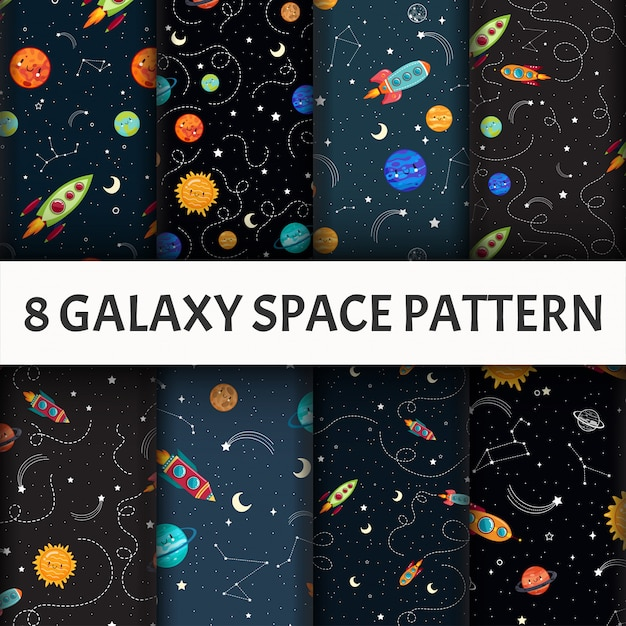Conjunto de galáxia sem emenda. Vetor grátis