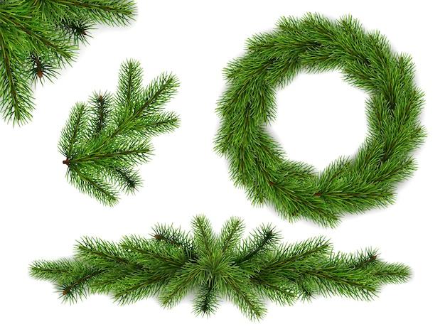 Conjunto de galhos de árvore do abeto e grinalda. elementos realistas para cartões de natal e ano novo. Vetor Premium