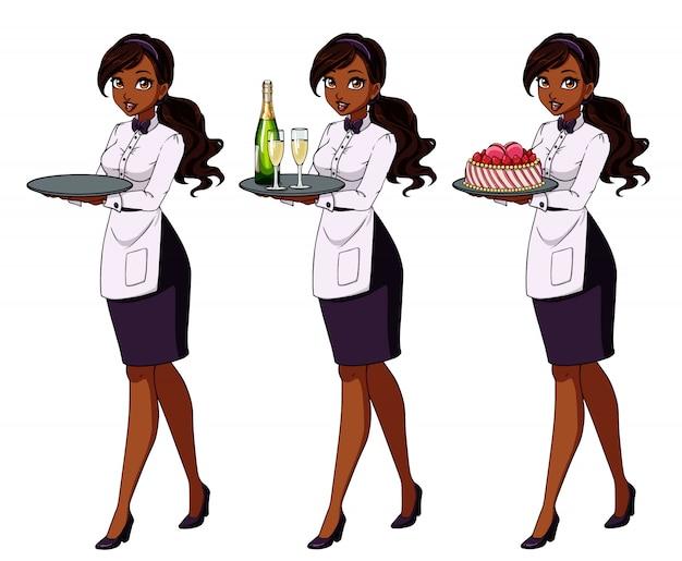 Conjunto de garçonetes morenas segurando champanhe e bolo, vestindo uniforme roxo Vetor Premium