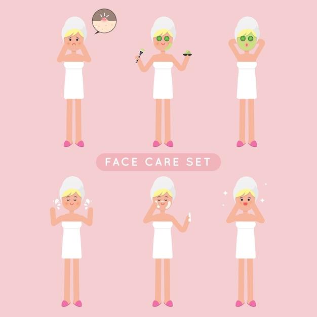 Conjunto de garota de cuidados de rosto bonito Vetor Premium