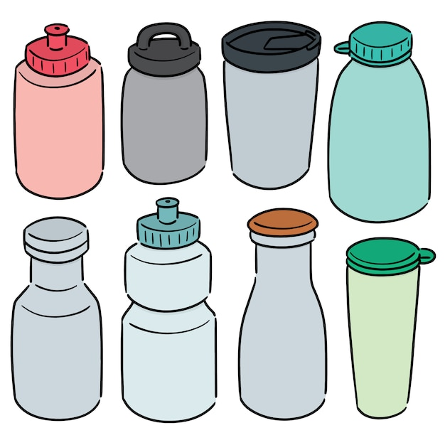 Conjunto de garrafa de água Vetor Premium