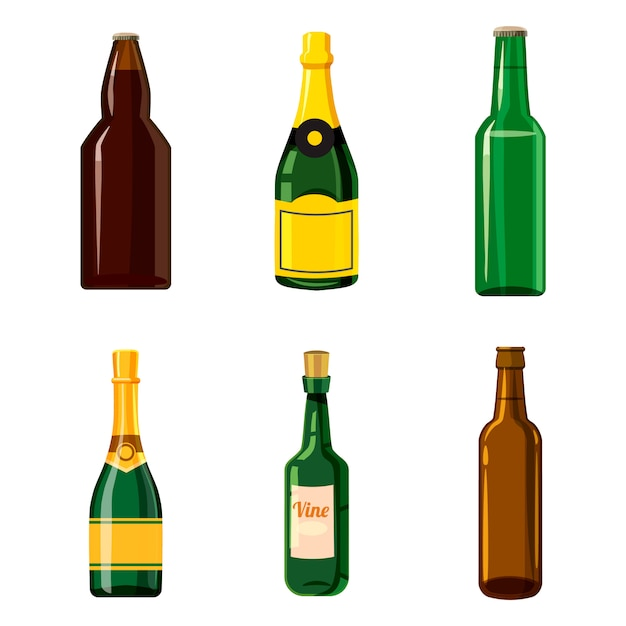 Conjunto de garrafa de álcool. conjunto de desenhos animados de garrafa de álcool Vetor Premium