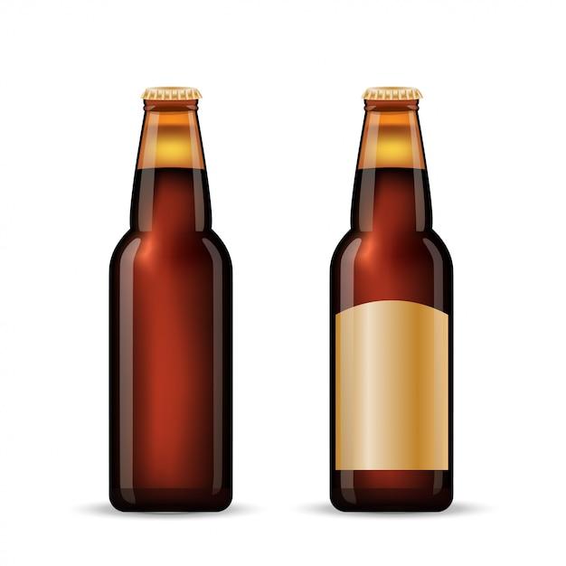 Conjunto de garrafa de cerveja marrom. Vetor Premium