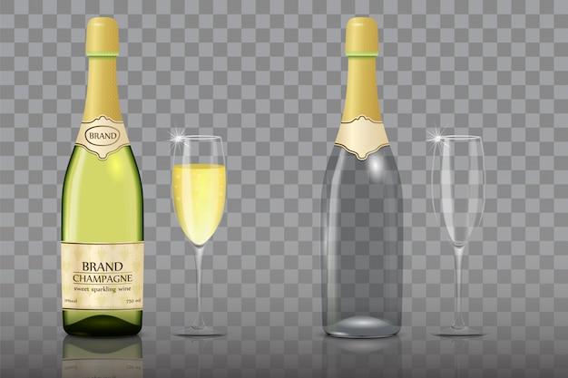 Conjunto de garrafa de champanhe com copo de vinho Vetor Premium