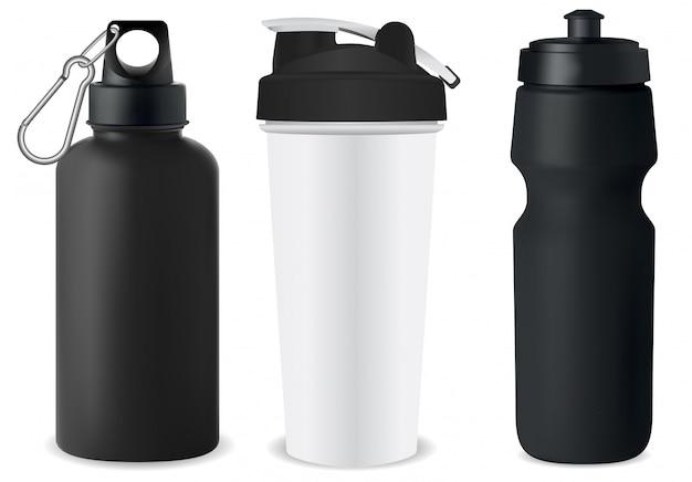 Conjunto de garrafa de esporte. maquete de balão de água. lata de proteína Vetor Premium