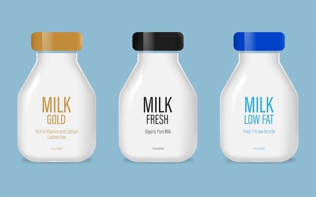 Conjunto de garrafa de leite de vidro Vetor Premium