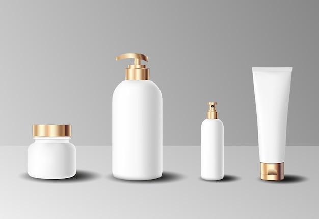 Conjunto de garrafa de ouro cosmético realista Vetor Premium