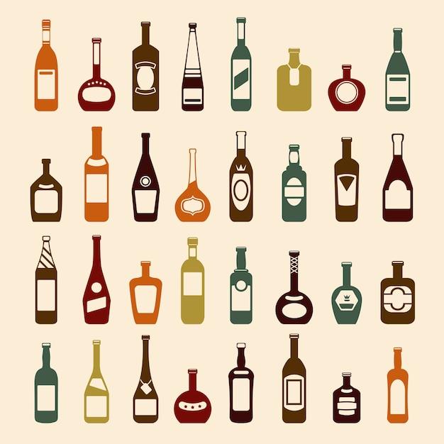 Conjunto de garrafas de cerveja e garrafas de vinho. Vetor grátis