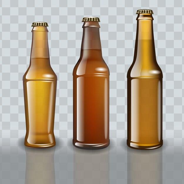 Conjunto de garrafas de cerveja em fundo transparente. Vetor Premium