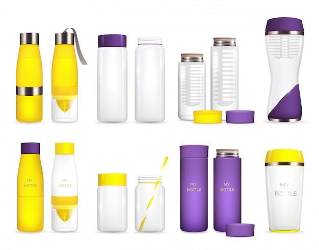 Conjunto de garrafas de refrigerador de água Vetor grátis