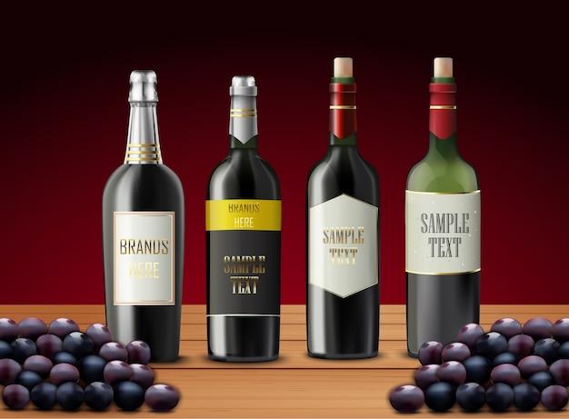Conjunto de garrafas de vinho e uvas Vetor Premium