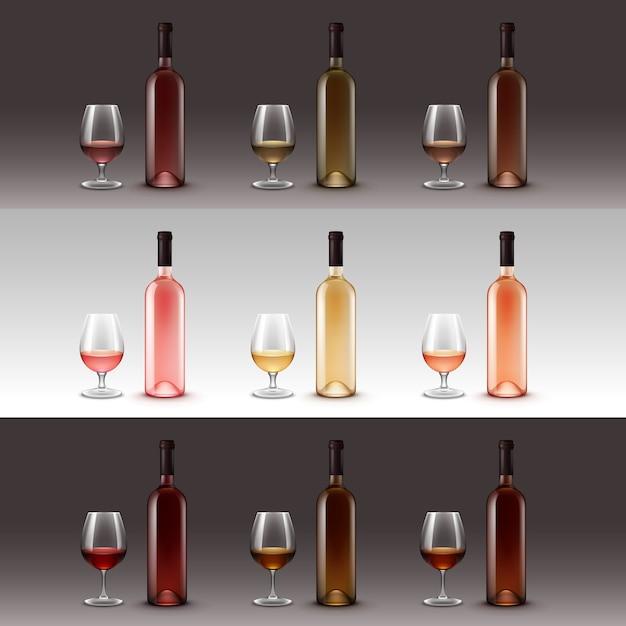 Conjunto de garrafas e copos de vinho Vetor Premium