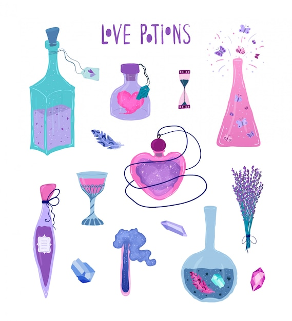 Conjunto de garrafas mágicas de poção do amor, isoladas no branco Vetor Premium