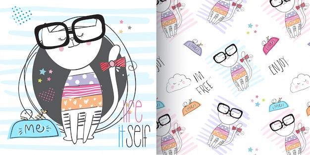 Conjunto de gatinho fofo padrão, mão desenhar ilustração-vetor Vetor Premium