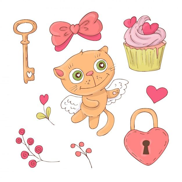 Conjunto de gato bonito dos desenhos animados para o dia dos namorados Vetor Premium