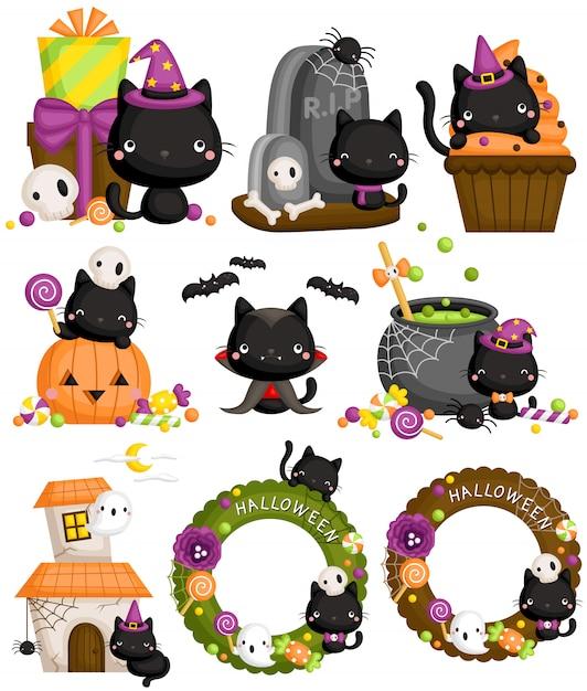 Conjunto de gato preto de halloween Vetor Premium