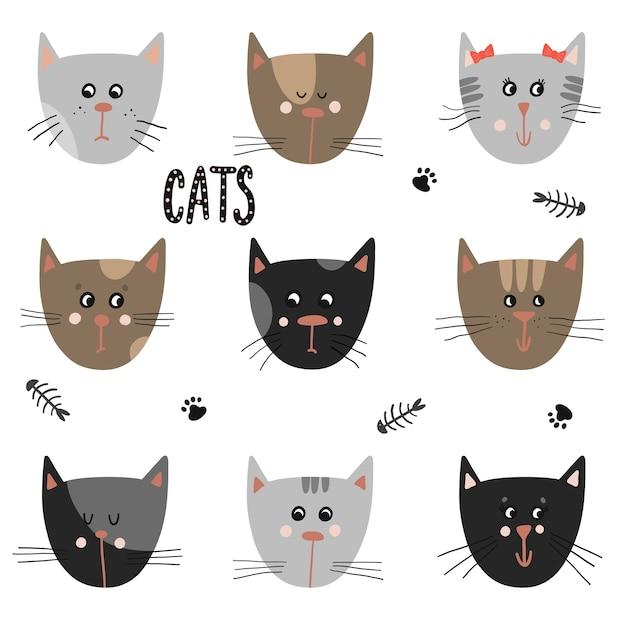 Conjunto de gatos bonitos. animais engraçados de desenhos animados. Vetor Premium
