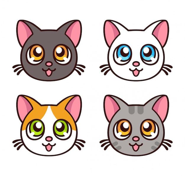 Conjunto de gatos bonitos anime Vetor Premium