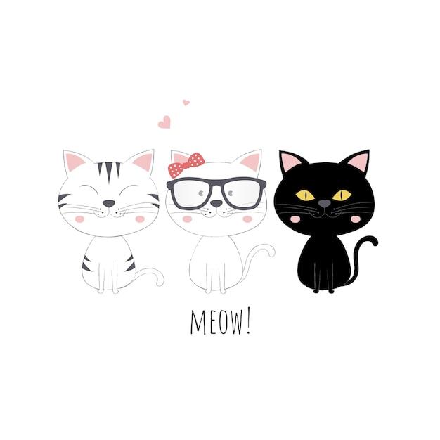 Conjunto de gatos fofos Vetor Premium