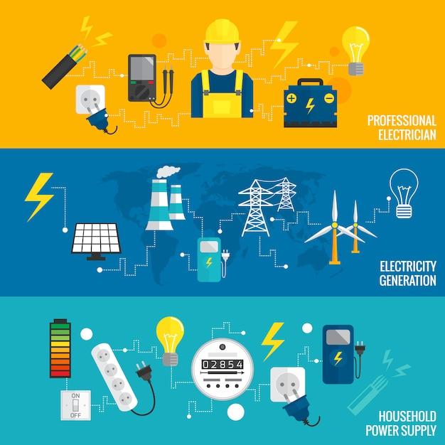 Conjunto de geração de energia de banner de linha Vetor Premium