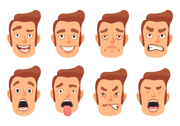 Conjunto de gestos faciais de homens Vetor grátis