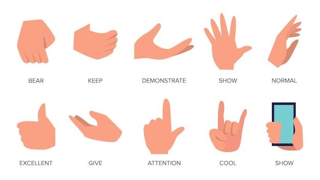 Conjunto de gestos Vetor Premium