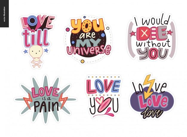 Conjunto de girlie contemporânea logotipo de carta de amor Vetor Premium