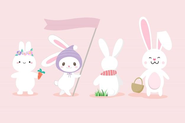 Conjunto de giro coelho branco mão desenhado estilo. Vetor Premium