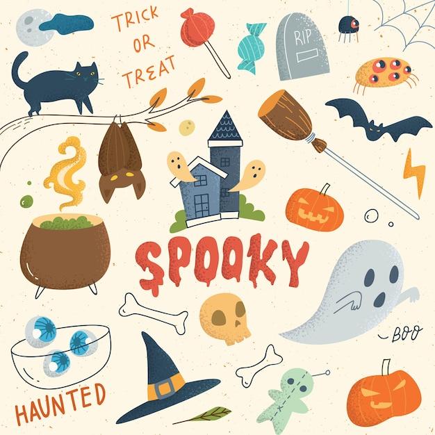 Conjunto de giro doodle de halloween Vetor Premium