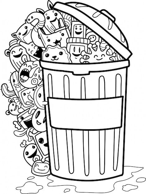 Conjunto de giro doodle monstros e lata de lixo Vetor Premium