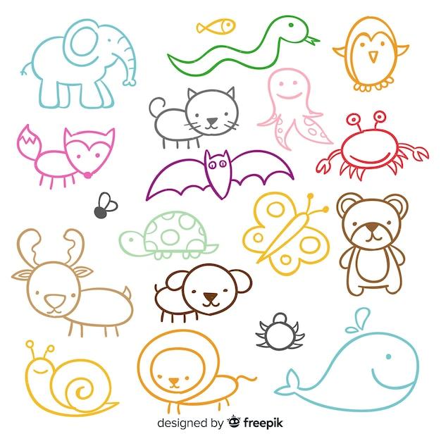 Conjunto de giro mão desenhada animais Vetor grátis