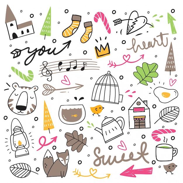 Conjunto de giro mão desenhada doodles Vetor Premium