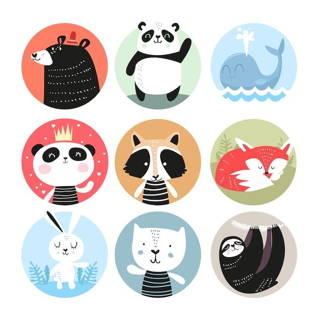 Conjunto de giro mão desenhada sorrindo personagens de animais. Vetor Premium
