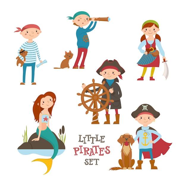 Conjunto de giro pequeno pirata, marinheiro crianças e sereia, desenhos animados Vetor Premium