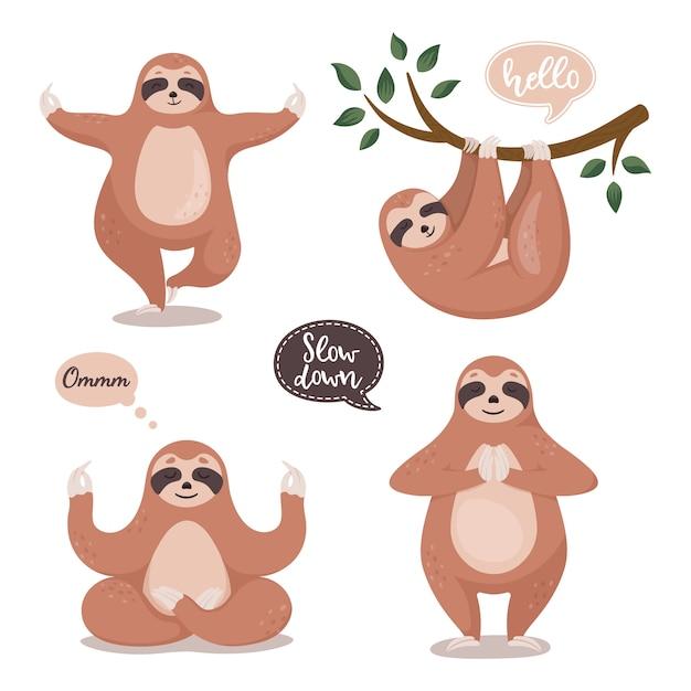 Conjunto de giros preguiças pendurado na árvore e fazer ioga. Vetor Premium