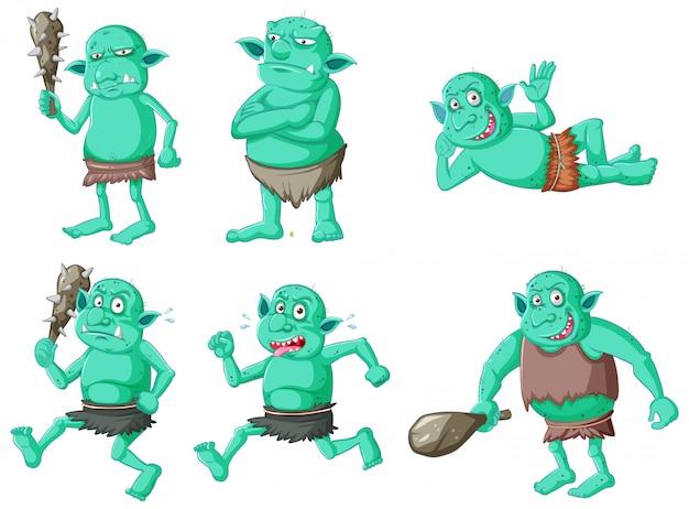 Conjunto de goblin verde ou troll em poses diferentes em personagem de desenho animado isolado Vetor grátis