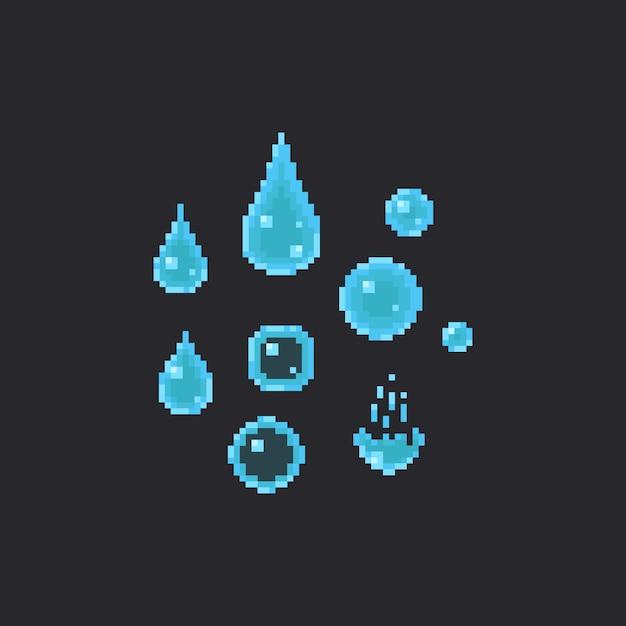Conjunto de gotas de água de pixel Vetor Premium