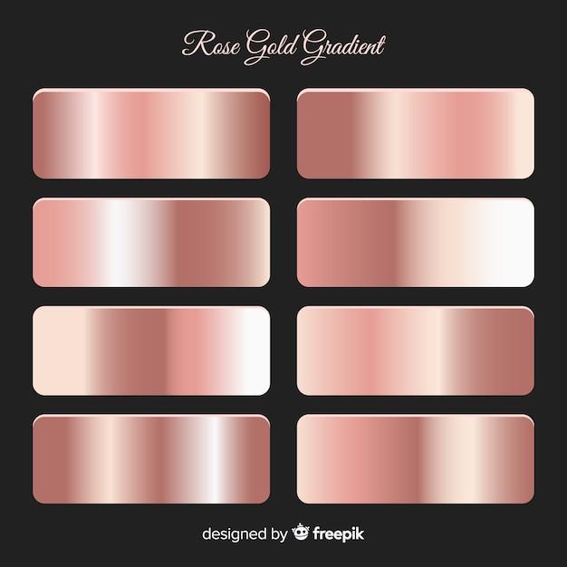 Conjunto de gradiente de ouro rosa textura metálica Vetor Premium